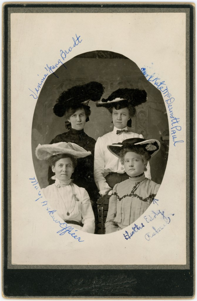Four turn-of-the-century women in magnificent hats