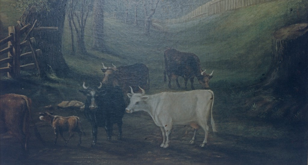 Detail of cows and stump