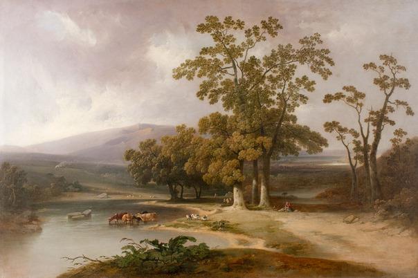 Joshua Shaw (1777–1860), Pastoral landscape, oil on canvas, 33 1/4 x 49 inches