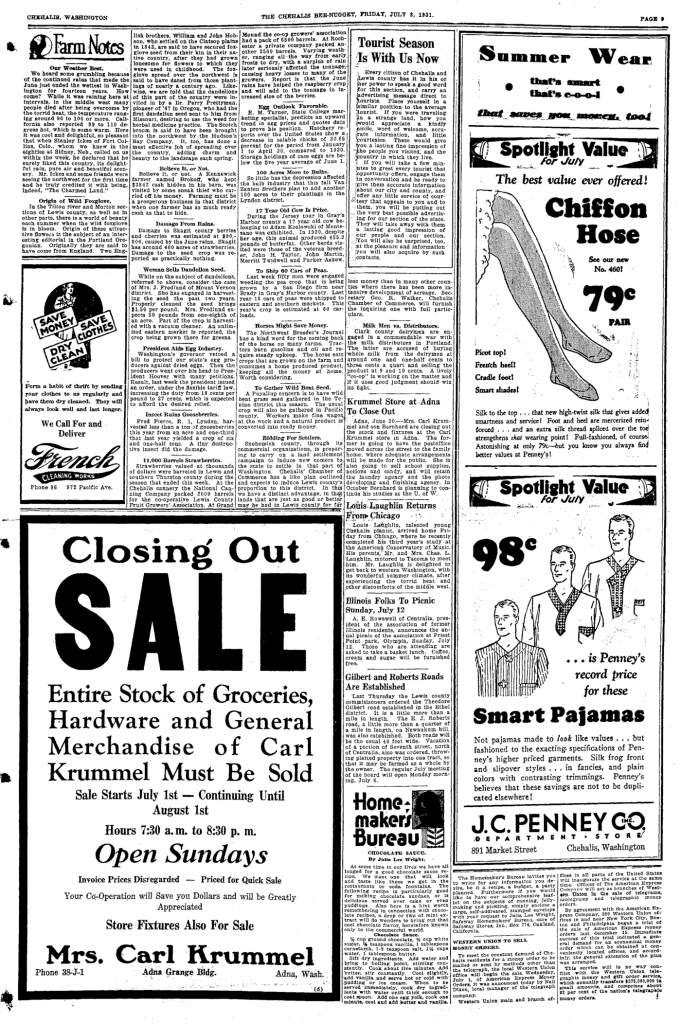 1931-07-03 Chehalis Bee-Nugget full page