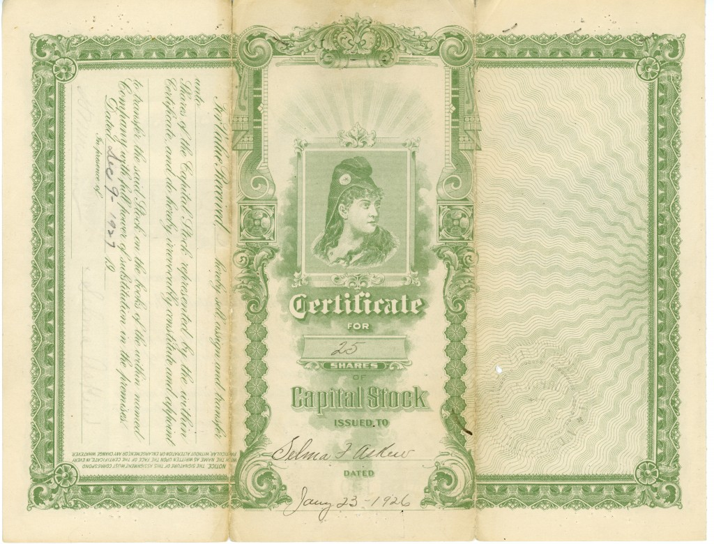 Askew stock certificate, 2 back