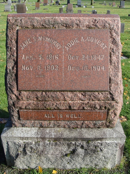 Headstone for Jane and Addie