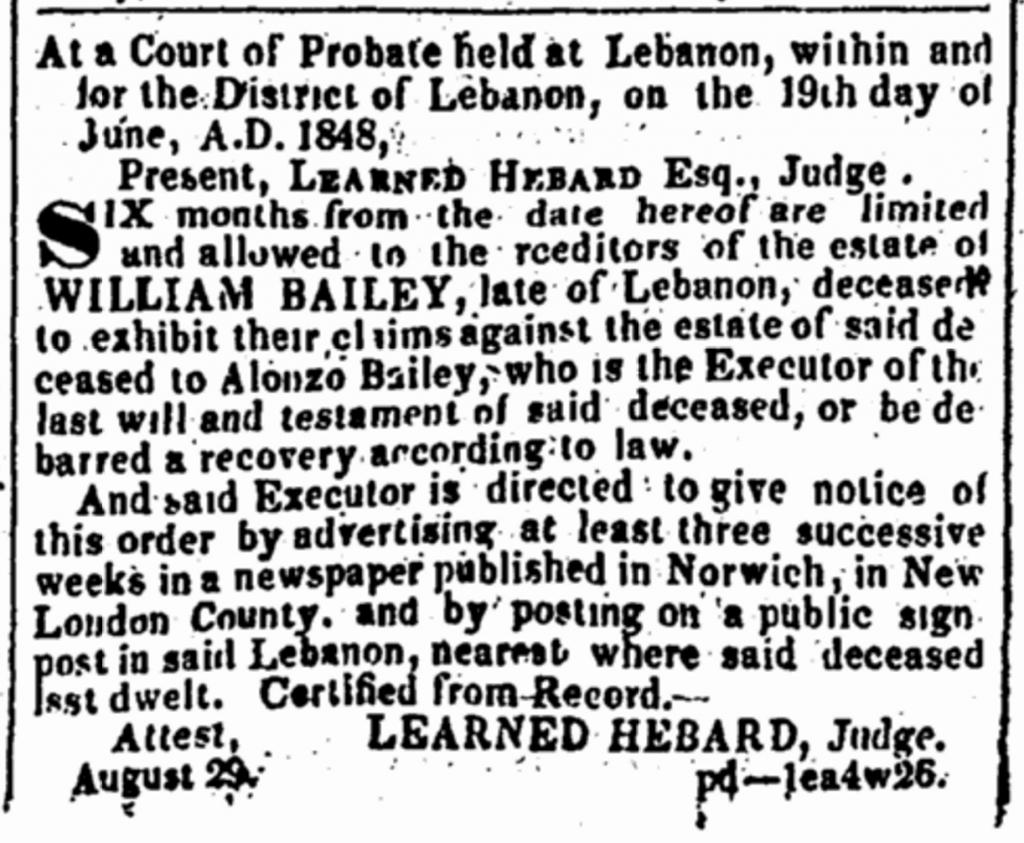 William Bailey probate notice 1848