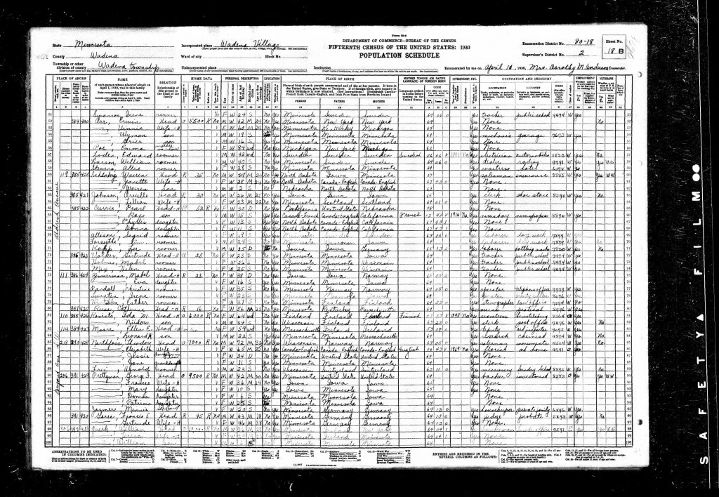 George I Prettyman 1930 census