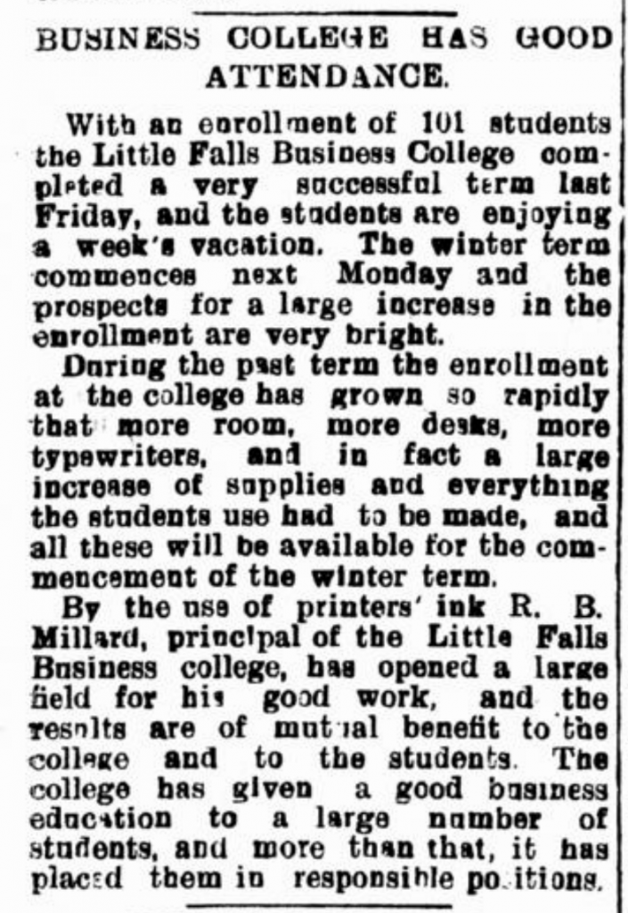 Little Falls Business College 1907