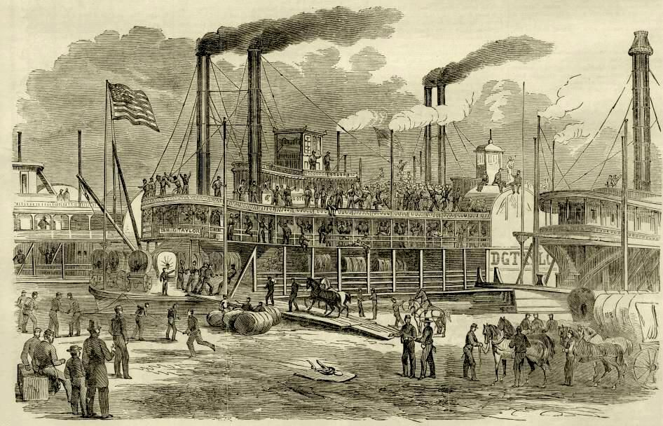 Embarking on a steamer at St. Louis